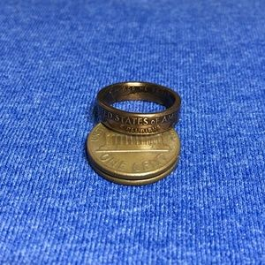 1972 Vintage Lucky US Copper Penny Coin Pinky Ring